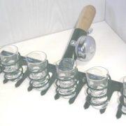 Pálinkás kínáló gereblye+6 pohár